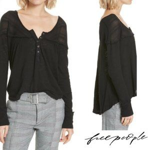 """Free People """"Down Under"""" Woven Trim Henley"""